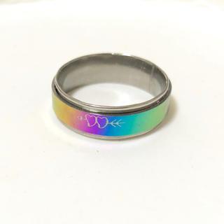 同時購入で300円 ステンレス指輪 ダブル ハート レインボー(リング(指輪))