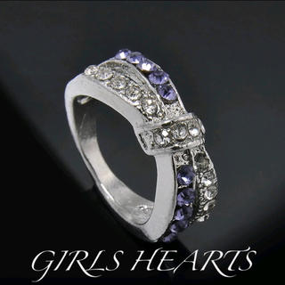 送料無料19号クロムシルバーアメジストスーパーCZダイヤデザイナーズリング指輪(リング(指輪))