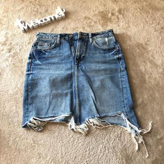エイチアンドエム(H&M)のH&Mダメージデニムスカート(ひざ丈スカート)