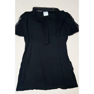 レッドヴァレンティノ(RED VALENTINO)のRED VALENTINO Tシャツ カットソー 半袖 レース 黒(Tシャツ(半袖/袖なし))