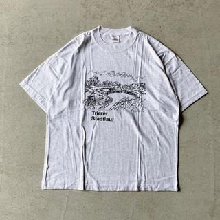 97年製 アート プリント オーバーサイズ Tシャツ 灰 XL * 90s 古着(Tシャツ/カットソー(半袖/袖なし))