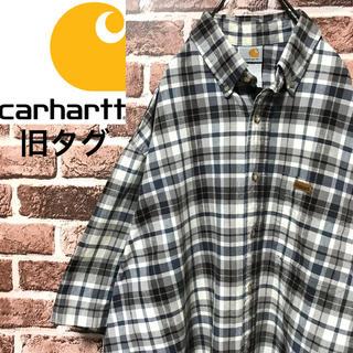カーハート(carhartt)の【激レア】カーハート 旧タグ 革ロゴ ビッグサイズ 半袖BDチェックシャツ(シャツ)