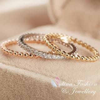 18K*イエロー、ローズ&ホワイトゴールド*ダイヤモンドトリプルリング(リング(指輪))
