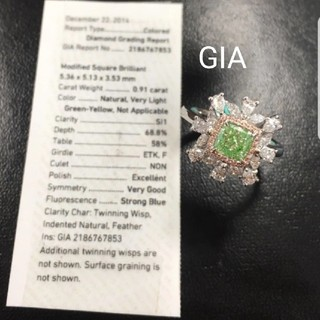 ♡0.91ct V.L.G.Yellowダイヤモンドリング(リング(指輪))