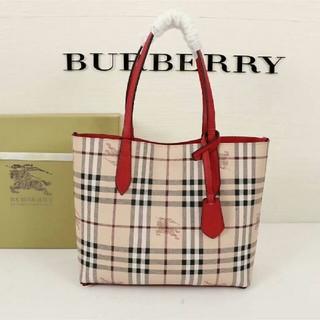バーバリー(BURBERRY)のBurberry トートバッグ バーバリー レッド 極美品 両面用(トートバッグ)