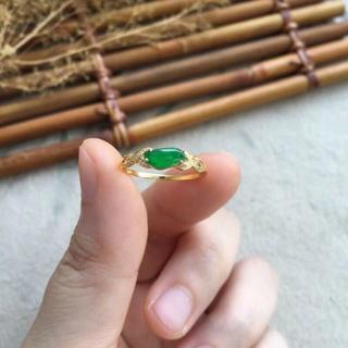235 k18ゴールドリング 翡翠リング ダイヤモンドリング 指輪 ピンクゴー(リング(指輪))