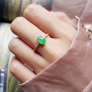 237 k18ゴールドリング 翡翠リング ダイヤモンドリング 指輪 ピンクゴー(リング(指輪))