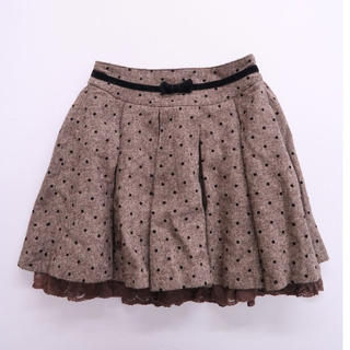 アンクルージュ(Ank Rouge)のAnk Rouge 裾レースドットフレアスカート(ミニスカート)