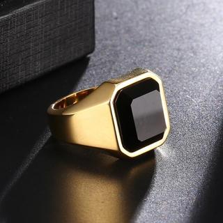 ブラックオニキス スクエアカット ゴールドスクエアリング 18KGP(リング(指輪))