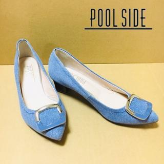 POOL SIDE - 【プールサイド:POOL SIDE】ライトブルー パンプス 22.5