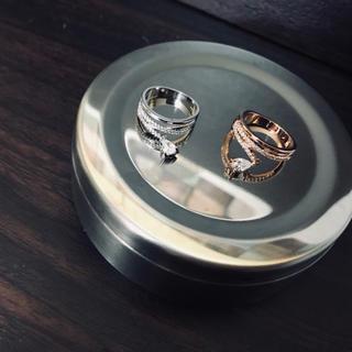 crystal Wクロス ドロップリング シルバー ローズゴールド (リング(指輪))