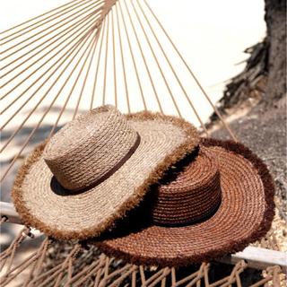 ルームサンマルロクコンテンポラリー(room306 CONTEMPORARY)の【完売品】room306 Summer Wide Boater Hat モカ(麦わら帽子/ストローハット)
