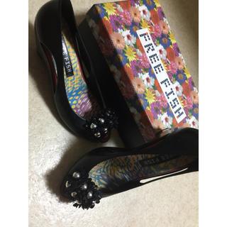 フリーフィッシュ(FREE FISH)の37 レイン ラバー パンプス ブラック フラワー サンダル オープントゥ(レインブーツ/長靴)