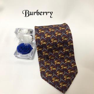 バーバリー(BURBERRY)のBurberry バーバリー 高級シルク100%ネクタイ ホース柄 (ネクタイ)