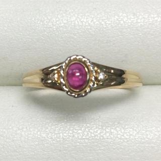 ★大きめの20号★K18ルビー&ダイヤ・デザインリング★R0.18ct(リング(指輪))