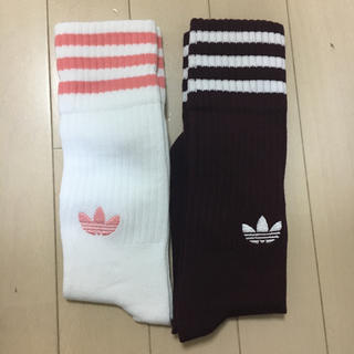 靴下 二足組 ピンク白 ボルドー白 新品