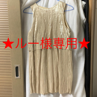 ザラキッズ(ZARA KIDS)の【新品未使用】ZARA キッズワンピース ゴールド 164cm(ワンピース)