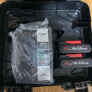 パナソニック(Panasonic)の18V3.0Ahリチウム電池×2 +急速充電器+ケース(工具/メンテナンス)