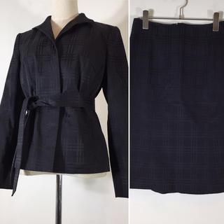 バーバリー(BURBERRY)の美品 バーバリー ロンドン スカートスーツ ネイビー サイズ38 総柄 チェック(スーツ)