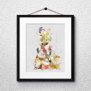 Disney - 日本未発売!七人の小人(白雪姫)アートポスター【額縁つき・送料無料!】