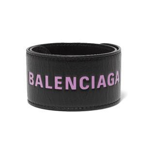 バレンシアガ(Balenciaga)のバレンシアガ レザースナップサイクルブレスレット ブラック x パープル(ブレスレット/バングル)