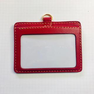 イタリアンレザーアリゾナの社員証入れ 赤 ゴールドの糸(パスケース/IDカードホルダー)