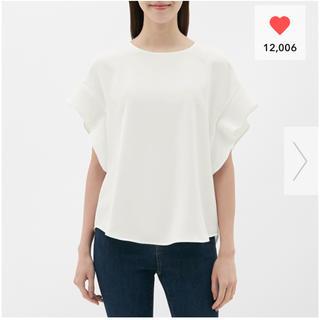 ジーユー(GU)のGU / フレアスリーブブラウス Sサイズ ホワイト(シャツ/ブラウス(半袖/袖なし))