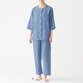 ムジルシリョウヒン(MUJI (無印良品))の脇に縫い目のない 細番手二重ガーゼ七分袖パジャマ・婦人L(パジャマ)