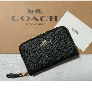 コーチ(COACH)のコーチ ジップ アラウンド コイン ケース ブラック  箱付き♪(コインケース)