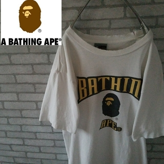 アベイシングエイプ(A BATHING APE)のアベイシングエイプ ダメージ加工 tシャツ ビックロゴ ホワイト Mサイズ(Tシャツ/カットソー(半袖/袖なし))