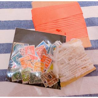 ザラホーム(ZARA HOME)のvintageリボン&デンマーク切手🌿(生地/糸)