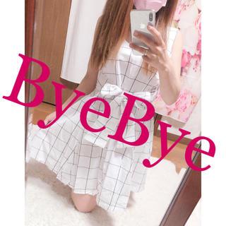 ByeBye - 712.ByeBye チェック柄 ウエストリボン フレアワンピース