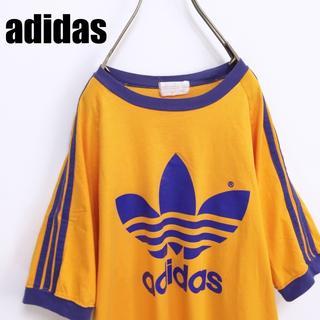 アディダス(adidas)の90s adidas アディダス レイカーズカラー Tシャツ デサント製 L-O(Tシャツ/カットソー(半袖/袖なし))