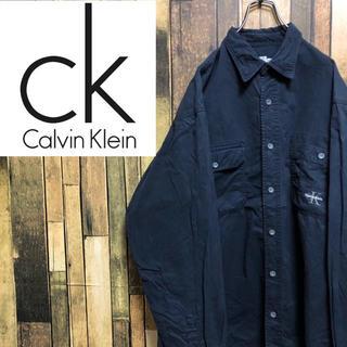 カルバンクライン(Calvin Klein)の【激レア】カルバンクラインジーンズ☆ワンポイント刺繍ロゴ入りワークシャツ 90s(シャツ)