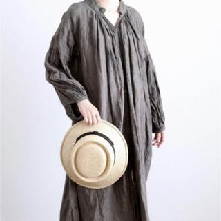 キャトルセゾン(quatre saisons)のBERRETTA(ベルレッタ) マープルミディアムブリム  黒リボン(麦わら帽子/ストローハット)
