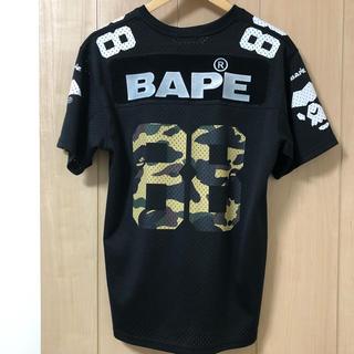 アベイシングエイプ(A BATHING APE)のa bathing ape メッシュ シャツ 黒 迷彩 カモ M(Tシャツ/カットソー(半袖/袖なし))