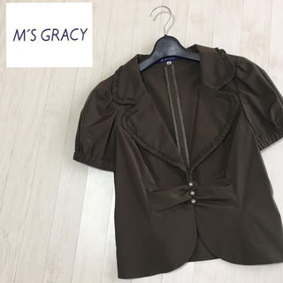 エムズグレイシー(M'S GRACY)の美品☆エムズグレイシー 後ろリボン 半袖ジャケット 40サイズ(テーラードジャケット)