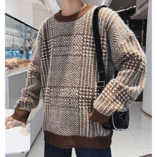 dholic - 韓国ファッション ルーズシルエット モヘア グレンチエック ニット セーター