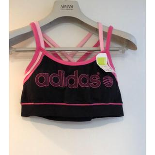 アディダス(adidas)の新品アディダススポーツブラM タグ付き可愛いブラックピンクジムヨガレディース (ウェア)