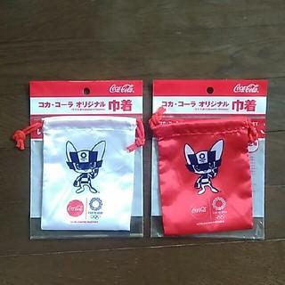 コカコーラ(コカ・コーラ)の新品未使用 東京オリンピック 巾着袋 紅白2枚セット コカ・コーラオリジナル(ノベルティグッズ)