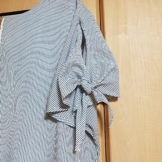 ヒロココシノ(HIROKO KOSHINO)のオープンショルダー★ストライプブラウス(シャツ/ブラウス(半袖/袖なし))