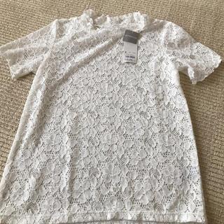 ジーユー(GU)の新品今期GUレースフリルネックTシャツ(シャツ/ブラウス(半袖/袖なし))