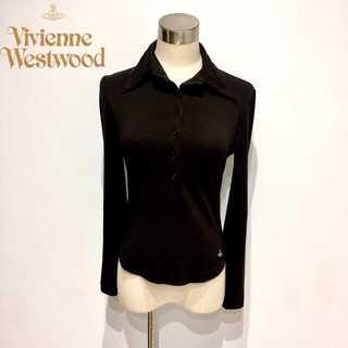 ヴィヴィアンウエストウッド(Vivienne Westwood)のヴィヴィアンウエストウッド 旧赤タグ ストレッチ 長袖 ポロシャツ オーブマーク(ポロシャツ)