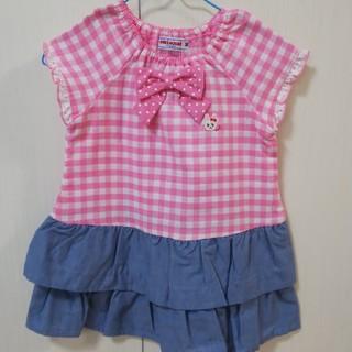 ミキハウス(mikihouse)の新品 ミキハウス ワンピース ピンク 半袖 リボン チェック フリル 90 夏(ワンピース)