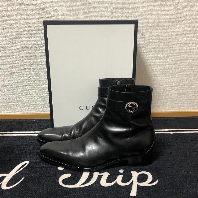 Gucci(グッチ)の確実正規品 gucci サイドロゴブーツ メンズの靴/シューズ(ブーツ)の商品写真