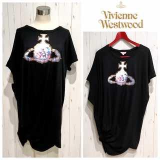 ヴィヴィアンウエストウッド(Vivienne Westwood)の美品 ヴィヴィアンウエストウッド オーブ プリント 変形 ワンピース(ロングワンピース/マキシワンピース)