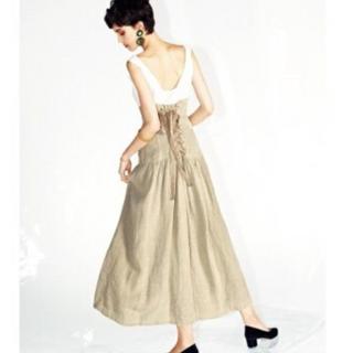 フレイアイディー(FRAY I.D)のフレイアイディー ♡ コルセットロングスカート フレアスカート リネン スカート(ロングスカート)
