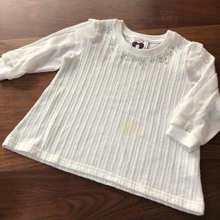 シマムラ(しまむら)のしまむら ビジュー付き 袖透け トップス ブラウス(Tシャツ/カットソー)