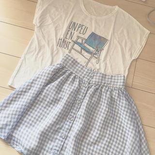 マジェスティックレゴン(MAJESTIC LEGON)の美品 コーデ売り Tシャツとギンガムチェックスカート(ミニスカート)