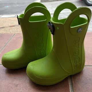 crocs - クロックス crocs レインブーツ 長靴 サイズC11  18cm 黄緑